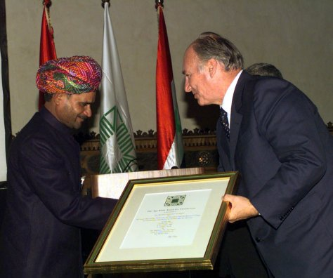 Mohmmed Rafeek receives his award from His Highness the Aga Khan - Syria Nov 2001
