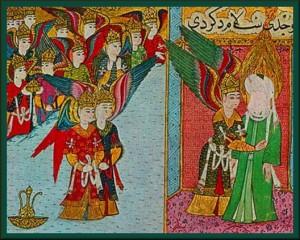 Angels prepare Prophet Muhammad for Miraj Night Journey