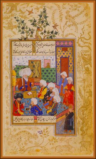 Shaikh al-Islam Discoursing with an Audience Page from Divan of Mahmud Abd al-Baki, 1590–95 Ottoman