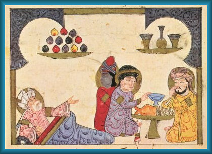 Banquet of Physicians Syria 1273 - Reader will observe different races of Physicians meeting at a meal to discuss issues where advice is also sought from an older Physician.