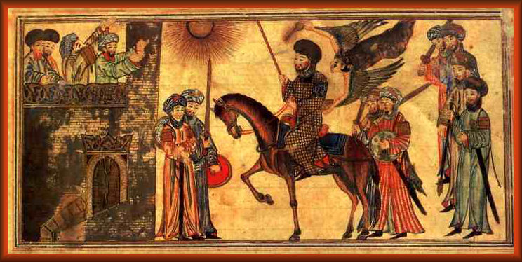 Mohammed (riding the horse) receiving the submission of the