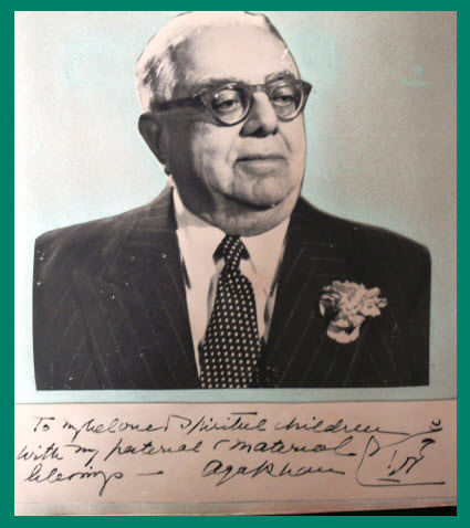 Aga Khan III autographed photo with blessings for his community