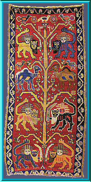 Tree of Life Iranian Rug Lion of God Imam Ali ibn Abi Talib Qashqa'i, dated 1327 A.H.-1909 - Amaana.org