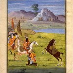Fathali_Shah_Shahanshahnameh A person descends from his horse to show his allegiance to Fathali Shah- From the book Shahanshahnameh