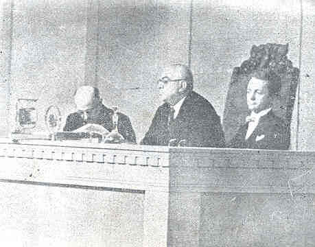 H. R. H. Prince Aga Khan III presiding over League of Nations of which he was the first President